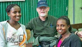 Cliff with Fregenet and Tigist. Cliff and I sponsor Fregenet through Hanna's Orphan Home.