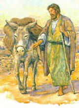 man leading a donkey, by Jody Eastman