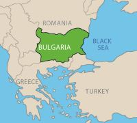 Map showing location of Bulgaria in southeastern Europe