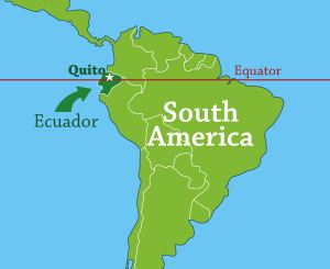 map showing Ecuador on the equator