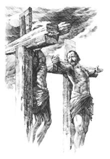 Jesus and the thief on their crosses