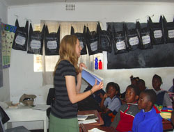 Kayla teaching in a classroom
