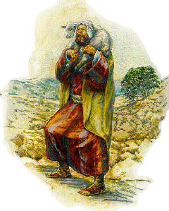 Shepherd carrying a lamb on his shoulders
