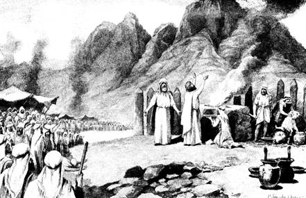 Sacrifices at Mt. Sinai, as depicted by J. Steeple Davis
