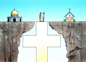 a cross bridging the gap between a Muslim and Christian church