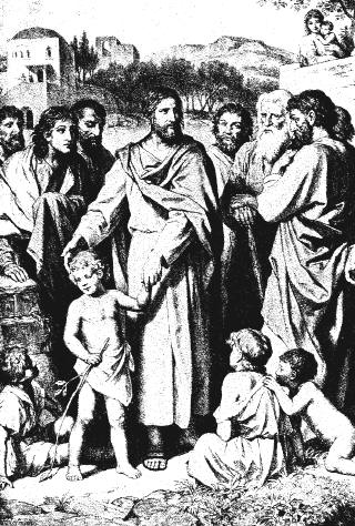 Jesus and a child, with the disciples