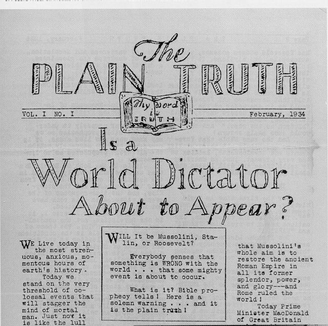 The first issue of The Plain Truth, February 1934
